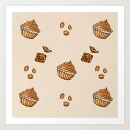 watercolor coffee beans , cupcakes and chocolate Art Print