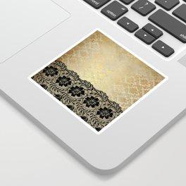 Black floral luxury lace on gold damask pattern Sticker