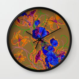 Modern Butterflies  Royal Blue Morning Glory Pattern Art Wall Clock