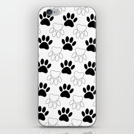 Black And White Dog Paw Print Pattern iPhone Skin