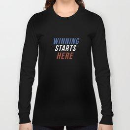 Winning Starts Here Running Runner 5K Fun Run Text Long Sleeve T-shirt