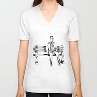 forrest gump V-neck T-shirts featuring Forrest Gump by Christine S.