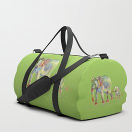 Colorful Elephant Family Duffle Bag