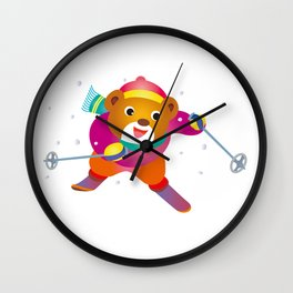 Bear to ski Wall Clock