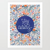coral Art Prints featuring Stay Curious – Navy & Coral by Cat Coquillette