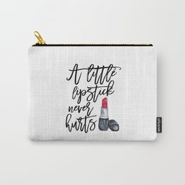 Fashion Print,Makeup Art,Wake Up and Makeup,Watercolor Lipstick Print,Makeup Quote,Make up Print Carry-All Pouch