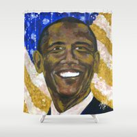 obama Shower Curtains featuring Obama by Stan Kwong