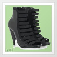 gucci Art Prints featuring Gucci Heels by TK Apparel