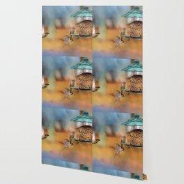 Finches Around A Feeder Wallpaper