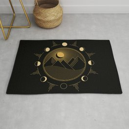 Lunar Phases With Mountains Rug