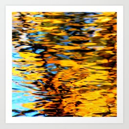 Liquidum Ignis. Fall Tree Reflections in a Pool of Water Art Print