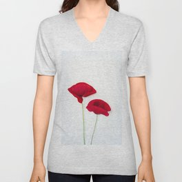 Two Red Poppies Unisex V-Neck