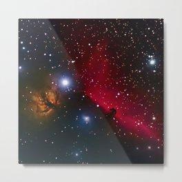 Horsehead and flaming tree nebula in space Metal Print