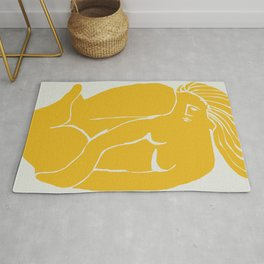 The nude in yellow Rug