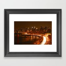 New York City Night Skyline. Framed Art Print