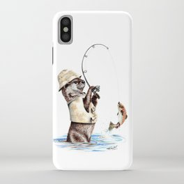 """ Natures Fisherman "" fishing river otter with trout iPhone Case"