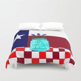 Texas Flag and Blue Bonnets Duvet Cover