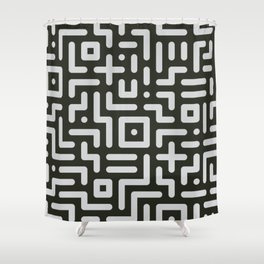 Round line geometric elements in black & white Shower Curtain