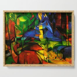 Deers in Wood by Franz Marc Serving Tray