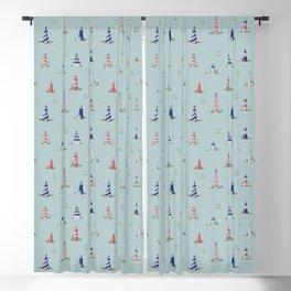 Nautical Lighthouses Coastal Print Blackout Curtain