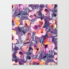 May Afternoon - a watercolor floral in purple and peach Canvas Print