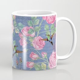 Vintage Watercolor hummingbird and English Roses on blue Background Coffee Mug