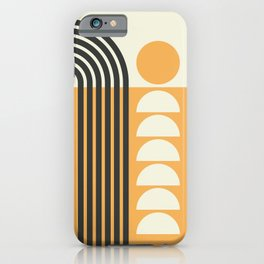Geometric Lines in Gold and Black 7 (Rainbow and Sunrise Abstract) iPhone Case