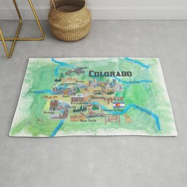 USA Colorado State Travel Poster Illustrated Art Map Rug