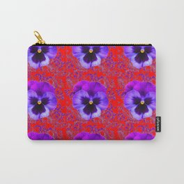 DECORATIVE PURPLE PANSY FLOWERS ON RED COLOR Carry-All Pouch