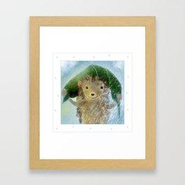 Hedgehog In The Rain Framed Art Print