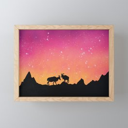 Capricorn Silhouette Framed Mini Art Print