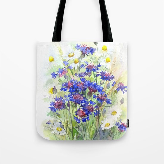 Meadow watercolor flowers with cornflowers Tote Bag