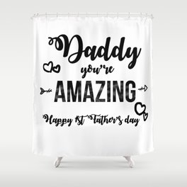 Cool First Fathers Day Best Dad AF Saying Son Gif Shower Curtain