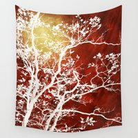 burgundy Wall Tapestries featuring Burgundy Tree Art by Christina Rollo