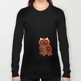 Retro Wood Owl Long Sleeve T-shirt