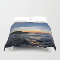 big sur Duvet Covers featuring Big Sur sunset  by davehare
