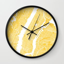 Manhattan map yellow Wall Clock