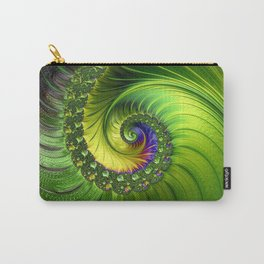 Green Luminescent fractal swirl Carry-All Pouch