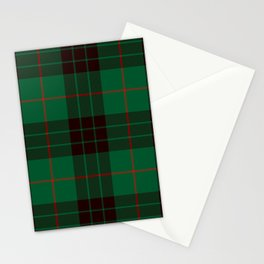Dark Green Tartan with Black and Red Stripes Stationery Cards