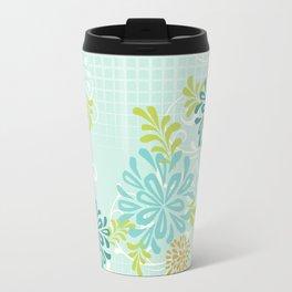 Bold Graphic Mod Mum Modern Chrysanthemum Floral Flower Aqua Blue Travel Mug