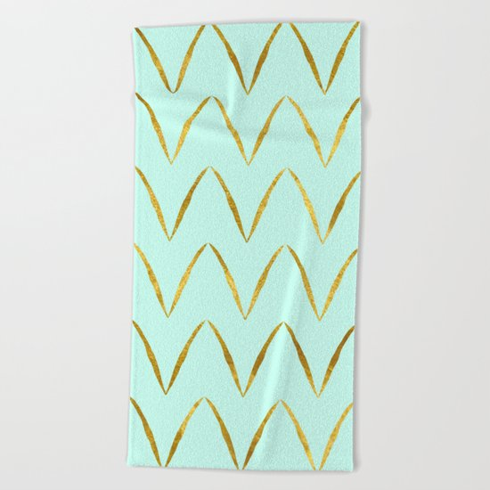 Mint Gold Foil 05 Beach Towel