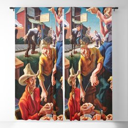Classical Masterpiece 'Arts of the West' by Thomas Hart Benton Blackout Curtain