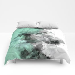 Mint Green Paint Splatter Abstract Comforters