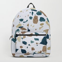 TERRAZZO ABSTRACT BLUE YELLOW ORANGE Backpack