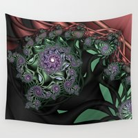 novelty Wall Tapestries featuring Lilac Fractal Garden by Moody Muse