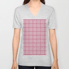 Blush Pink Greek Key Pattern Unisex V-Neck