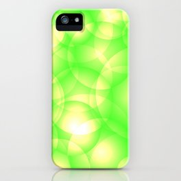 Gentle intersecting green translucent circles in pastel colors with a spring glow. iPhone Case
