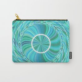 Deep Sea Blue Round Circles Art Carry-All Pouch