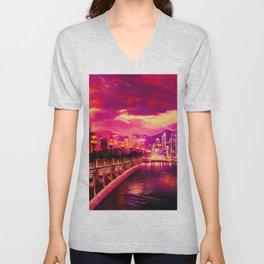 Purple City Unisex V-Neck