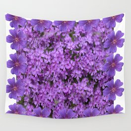 WHITE  LILAC PURPLE SPRING PHLOX FLOWERS GARDEN Wall Tapestry